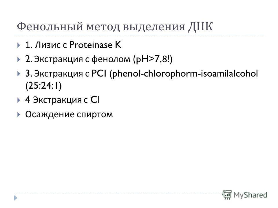 Фенольный метод выделения ДНК 1. Лизис с Proteinase K 2. Экстракция с фенолом (pH>7,8!) 3. Экстракция с PCI (phenol-chlorophorm-isoamilalcohol (25:24:1) 4 Экстракция с CI Осаждение спиртом