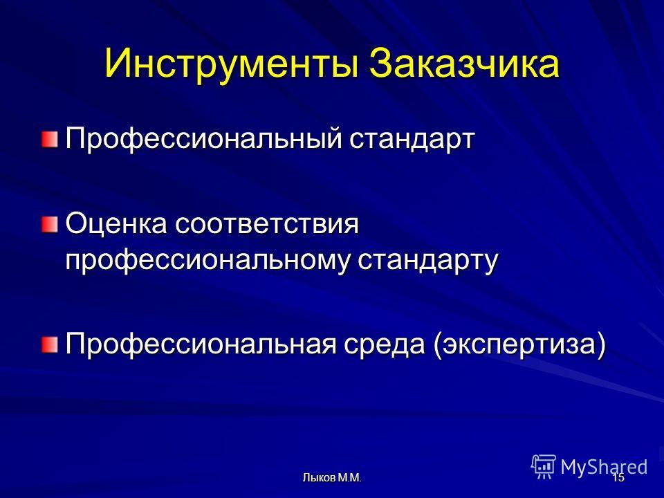 Лыков М.М. 15 Инструменты Заказчика Профессиональный стандарт Оценка соответствия профессиональному стандарту Профессиональная среда (экспертиза)