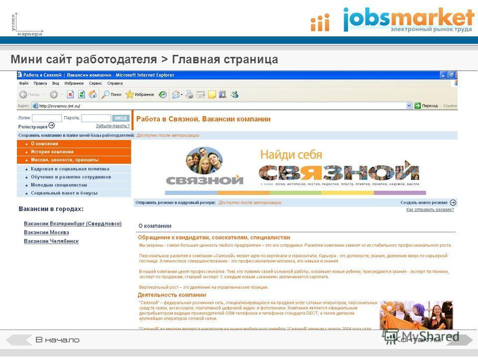 Мини сайт работодателя > Главная страница