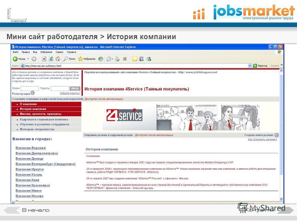 Мини сайт работодателя > История компании