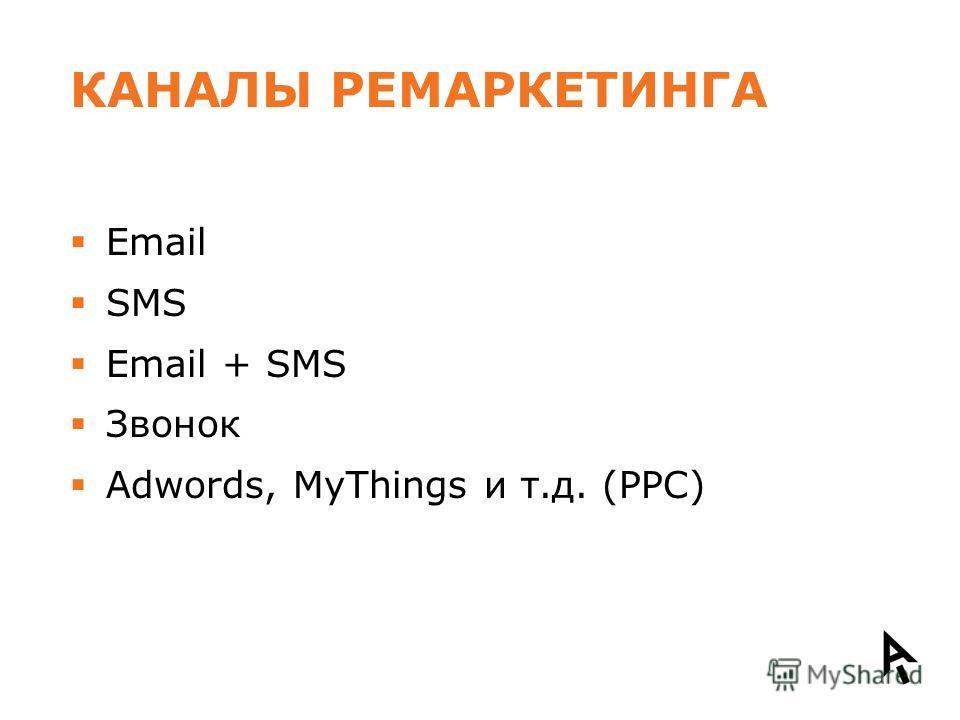 КАНАЛЫ РЕМАРКЕТИНГА Email SMS Email + SMS Звонок Adwords, MyThings и т.д. (PPC)