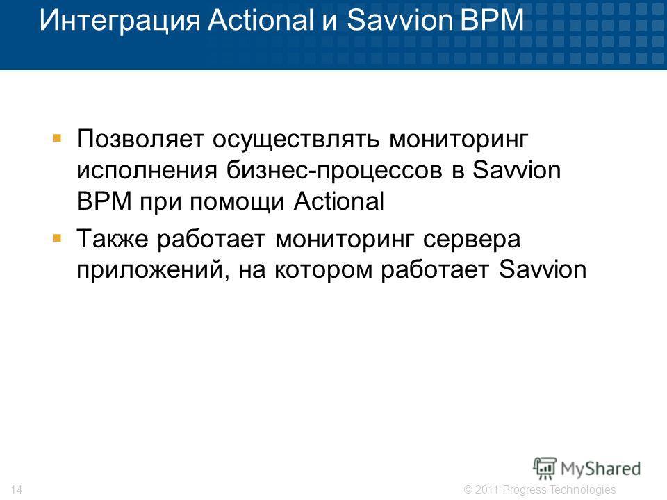 © 2011 Progress Technologies14 Интеграция Actional и Savvion BPM Позволяет осуществлять мониторинг исполнения бизнес-процессов в Savvion BPM при помощи Actional Также работает мониторинг сервера приложений, на котором работает Savvion