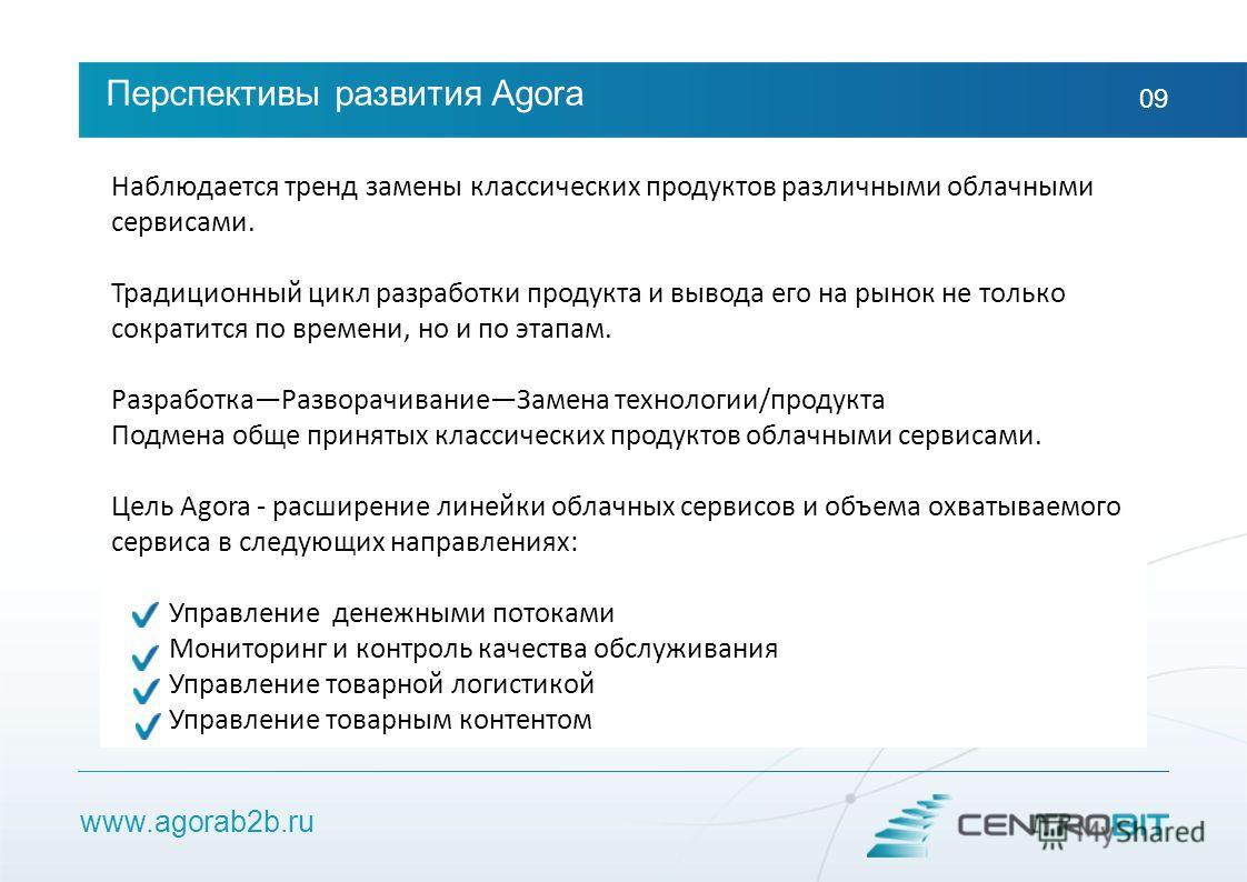 www.agorab2b.ru Перспективы развития Agora 09 Наблюдается тренд замены классических продуктов различными облачными сервисами. Традиционный цикл разработки продукта и вывода его на рынок не только сократится по времени, но и по этапам. РазработкаРазво
