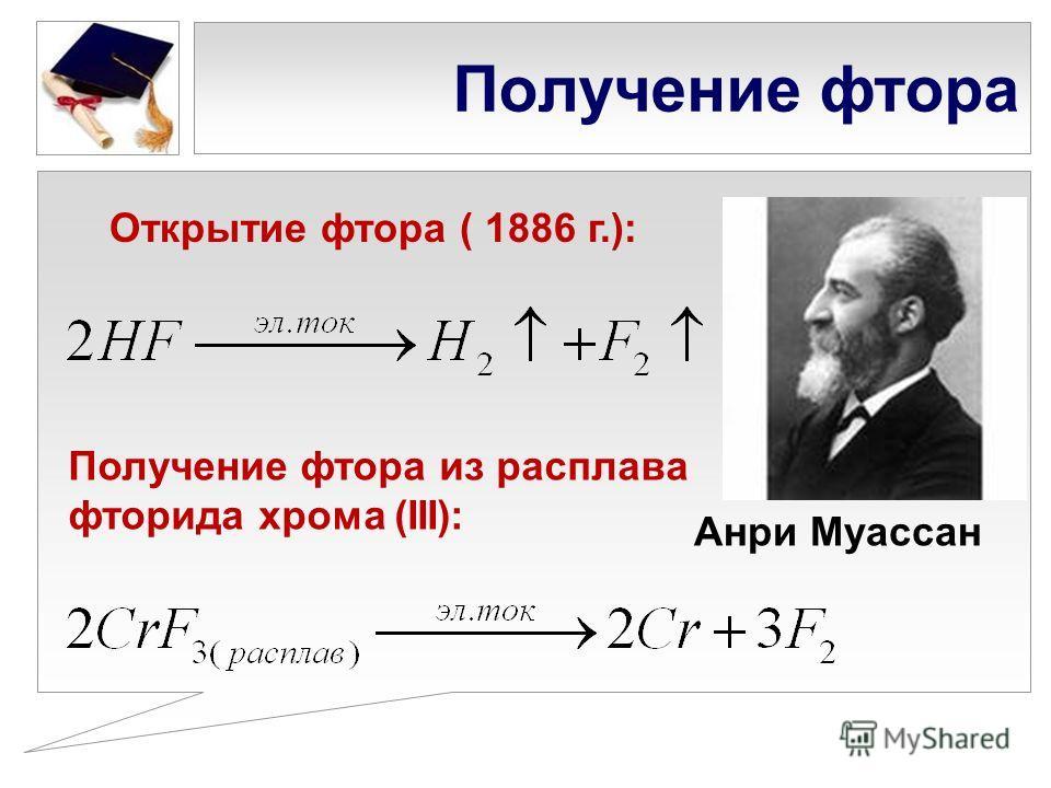 Получение фтора Анри Муассан Открытие фтора ( 1886 г.): Получение фтора из расплава фторида хрома (III):