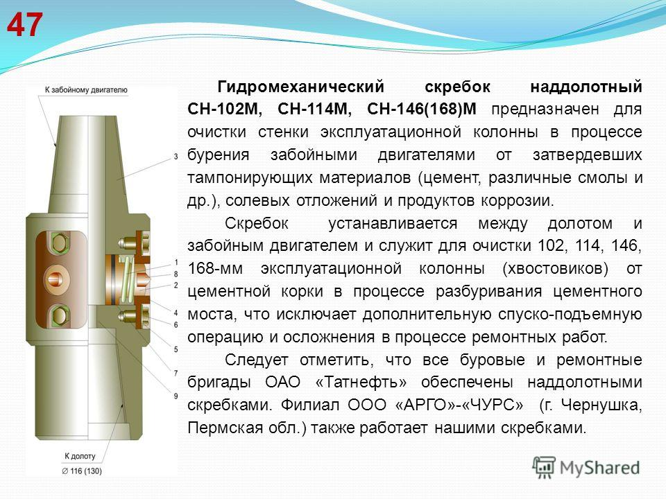 47 Гидромеханический скребок наддолотный СН-102М, СН-114М, СН-146(168)М предназначен для очистки стенки эксплуатационной колонны в процессе бурения забойными двигателями от затвердевших тампонирующих материалов (цемент, различные смолы и др.), солевы