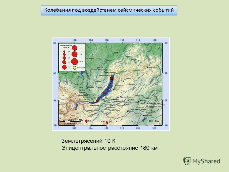 Колебания под воздействием сейсмических событий Землетрясений 10 К Эпицентральное расстояние 180 км