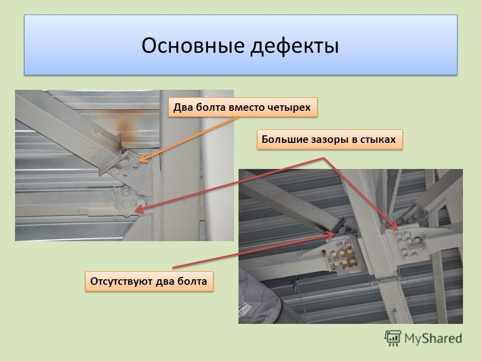 Основные дефекты Два болта вместо четырех Отсутствуют два болта Большие зазоры в стыках
