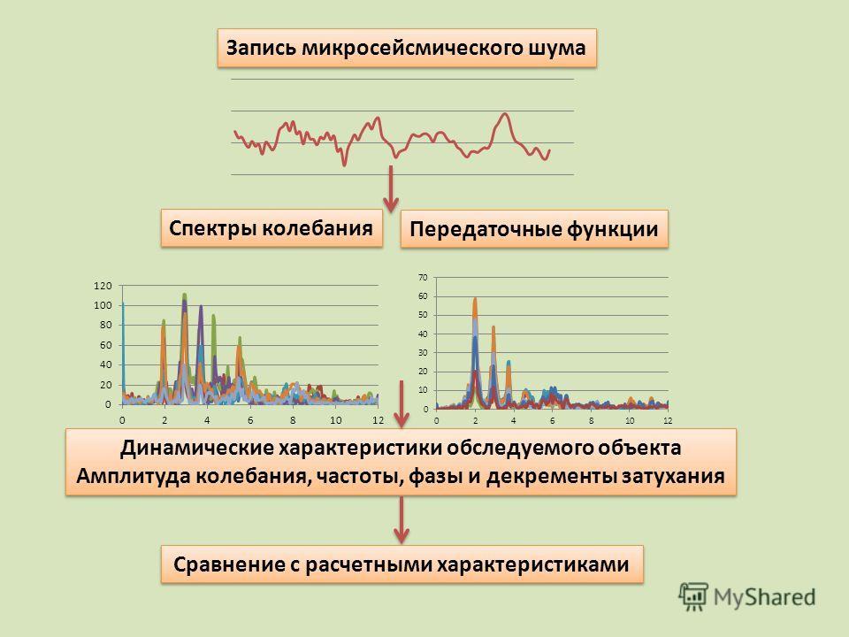 Запись микросейсмического шума Спектры колебания Передаточные функции Динамические характеристики обследуемого объекта Амплитуда колебания, частоты, фазы и декременты затухания Динамические характеристики обследуемого объекта Амплитуда колебания, час