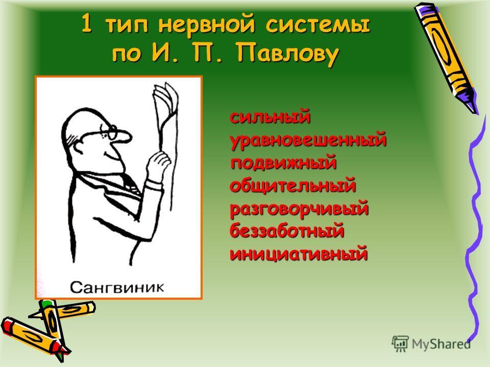 1 тип нервной системы по И. П. Павлову сильныйуравновешенныйподвижныйобщительныйразговорчивыйбеззаботныйинициативный