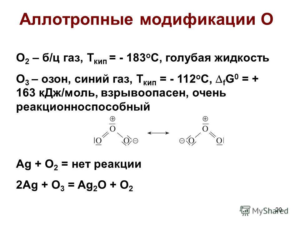 Аллотропные модификации О O 2 – б/ц газ, Т кип = - 183 о С, голубая жидкость О 3 – озон, синий газ, Т кип = - 112 о С, f G 0 = + 163 кДж/моль, взрывоопасен, очень реакционноспособный Ag + O 2 = нет реакции 2Ag + O 3 = Ag 2 O + O 2 20