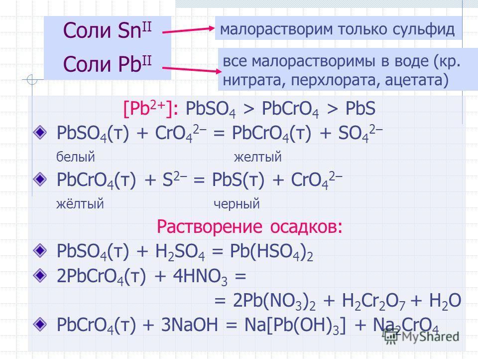 [Pb 2+ ]: PbSO 4 > PbCrO 4 > PbS PbSO 4 (т) + CrO 4 2– = PbCrO 4 (т) + SO 4 2– белый желтый PbCrO 4 (т) + S 2– = PbS(т) + CrO 4 2– жёлтый черный Растворение осадков: PbSO 4 (т) + H 2 SO 4 = Pb(HSO 4 ) 2 2PbCrO 4 (т) + 4HNO 3 = = 2Pb(NO 3 ) 2 + H 2 Cr
