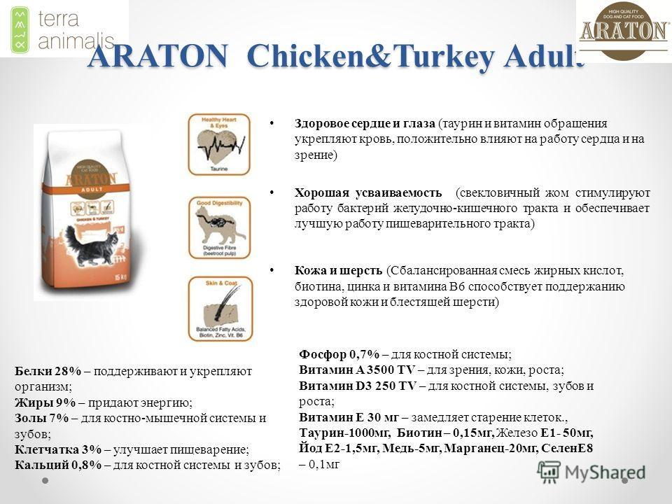 ARATON Chicken&Turkey Adult Здоровое сердце и глазa (таурин и витамин обращения укрепляют кровь, положительно влияют на работу сердца и на зрение) Хорошая усваиваемость (свекловичный жом стимулируют работу бактерий желудочно-кишечного тракта и обеспе