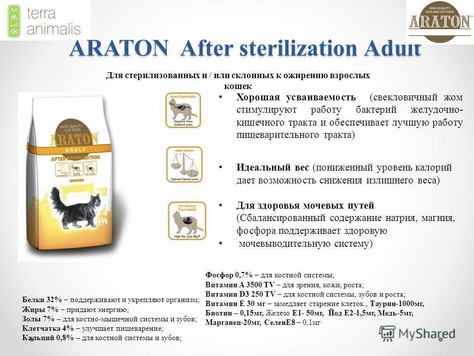 ARATON After sterilization Adult Хорошая усваиваемость (свекловичный жом стимулируют работу бактерий желудочно- кишечного тракта и обеспечивает лучшую работу пищеварительного тракта) Идеальный вес (пониженный уровень калорий дает возможность снижения