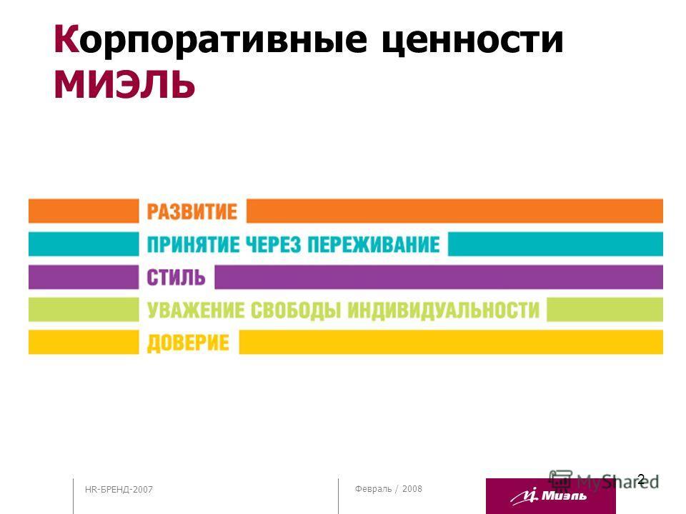 2 Февраль / 2008 Корпоративные ценности МИЭЛЬ HR-БРЕНД-2007
