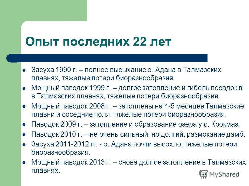 Опыт последних 22 лет Засуха 1990 г. – полное высыхание о. Адана в Талмазских плавнях, тяжелые потери биоразнообразия. Мощный паводок 1999 г. – долгое затопление и гибель посадок в в Талмазских плавнях, тяжелые потери биоразнообразия. Мощный паводок