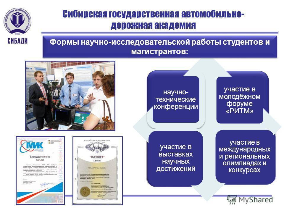 Сибирская государственная автомобильно- дорожная академия Формы научно-исследовательской работы студентов и магистрантов: