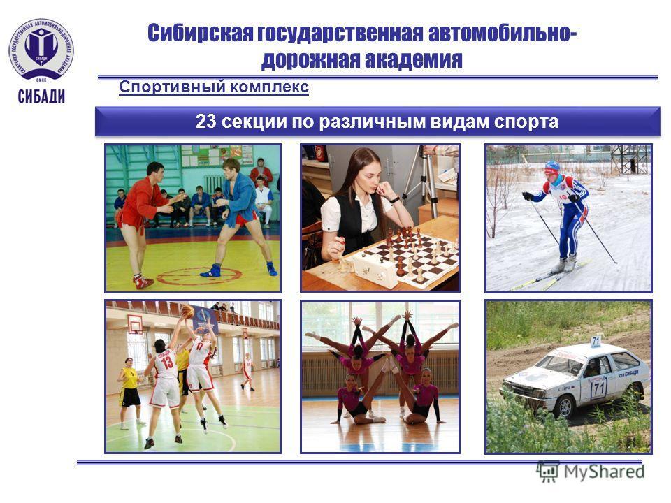 Сибирская государственная автомобильно- дорожная академия 23 секции по различным видам спорта Спортивный комплекс