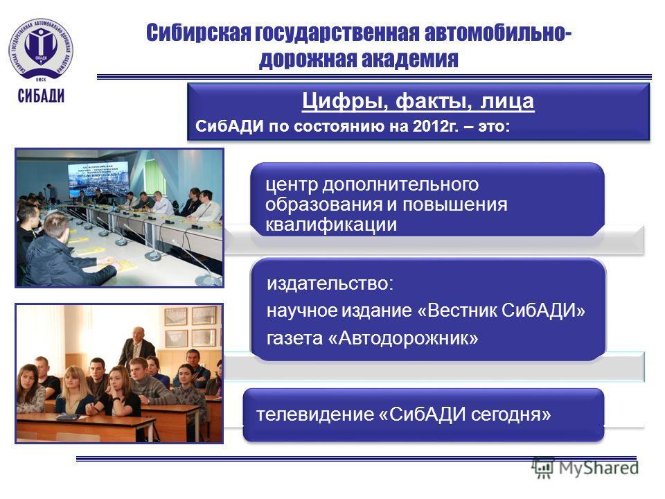 Сибирская государственная автомобильно- дорожная академия Цифры, факты, лица СибАДИ по состоянию на 2012г. – это: Цифры, факты, лица СибАДИ по состоянию на 2012г. – это: