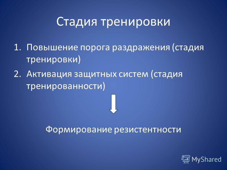 Стадия тренировки 1.Повышение порога раздражения (стадия тренировки) 2.Активация защитных систем (стадия тренированности) Формирование резистентности