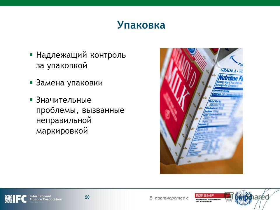 В партнерстве с Упаковка Надлежащий контроль за упаковкой Замена упаковки Значительные проблемы, вызванные неправильной маркировкой 20