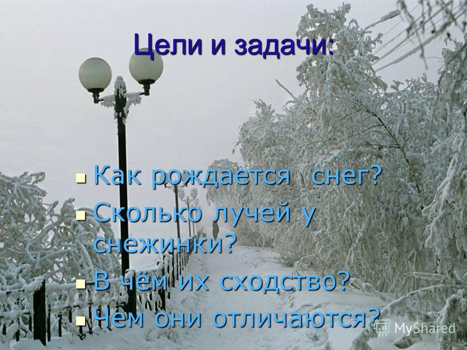 Цели и задачи: Как рождается снег? Как рождается снег? Сколько лучей у снежинки? Сколько лучей у снежинки? В чём их сходство? В чём их сходство? Чем они отличаются? Чем они отличаются?