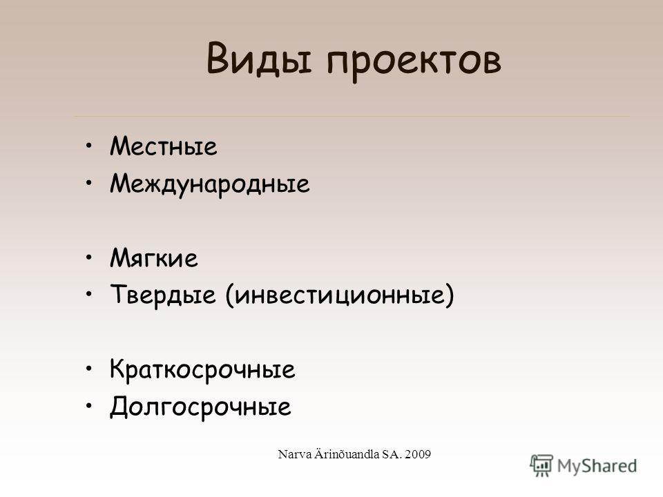 Narva Ärinõuandla SA. 2009 II. Что надо знать, чтобы подготовить проект по предпринимательству –Виды проектов –Общие требования к проектам по программам предпринимательства