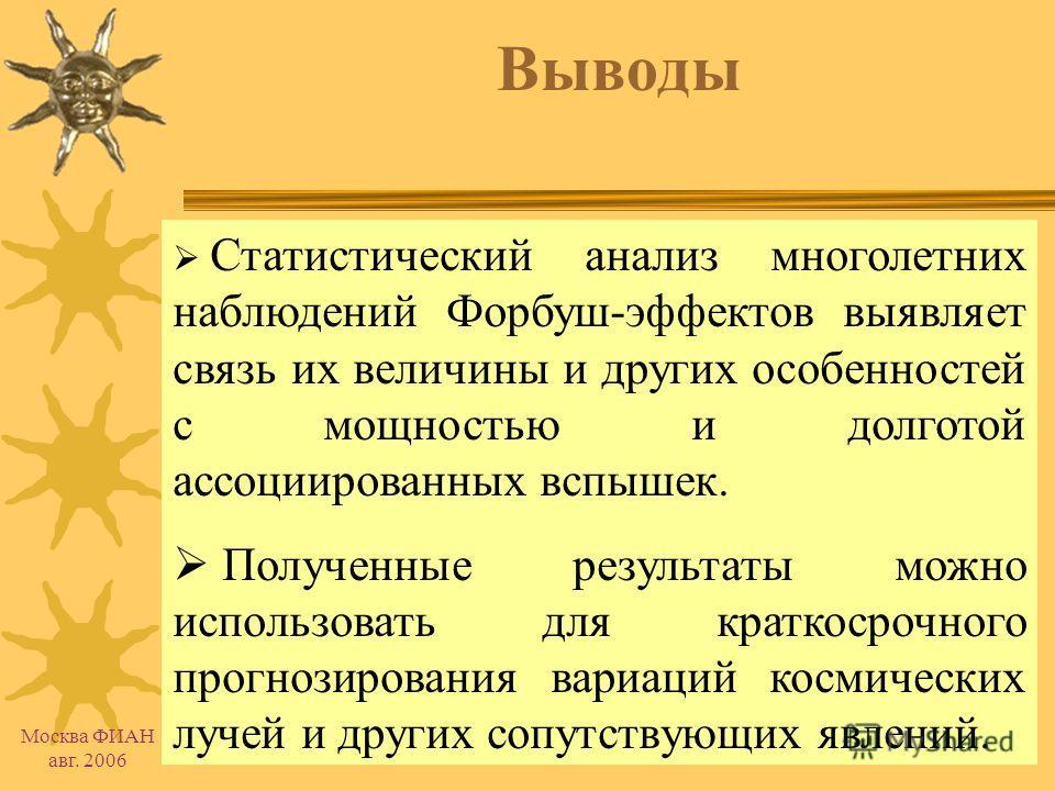 Москва ФИАН авг. 2006 Восточно-западная асимметрия