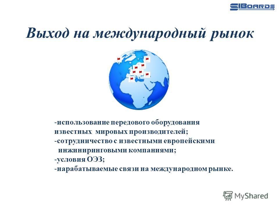 Выход на международный рынок -использование передового оборудования известных мировых производителей; -сотрудничество с известными европейскими инжиниринговыми компаниями; -условия ОЭЗ; -нарабатываемые связи на международном рынке.