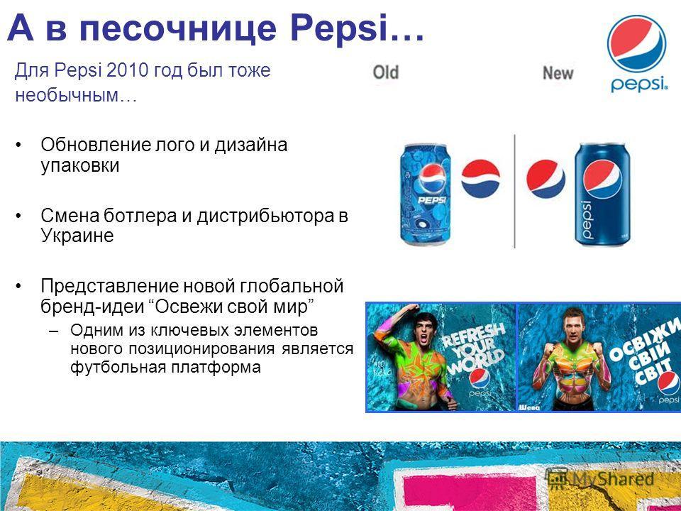А в песочнице Pepsi… Для Pepsi 2010 год был тоже необычным… Обновление лого и дизайна упаковки Смена ботлера и дистрибьютора в Украине Представление новой глобальной бренд-идеи Освежи свой мир –Одним из ключевых элементов нового позиционирования явля