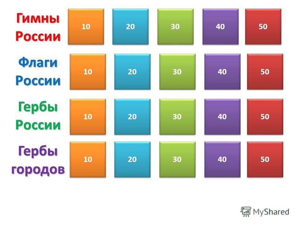 Гимны России 1020304050 Флаги России 1020304050 Гербы России 1020304050 Гербы городов 1020304050 10 20 30 40 50