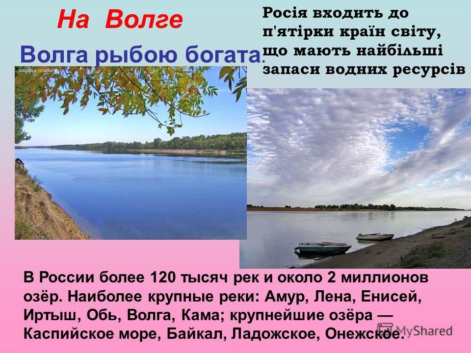 На Волге Волга рыбою богата. В России более 120 тысяч рек и около 2 миллионов озёр. Наиболее крупные реки: Амур, Лена, Енисей, Иртыш, Обь, Волга, Кама; крупнейшие озёра Каспийское море, Байкал, Ладожское, Онежское. Росія входить до п'ятірки країн сві