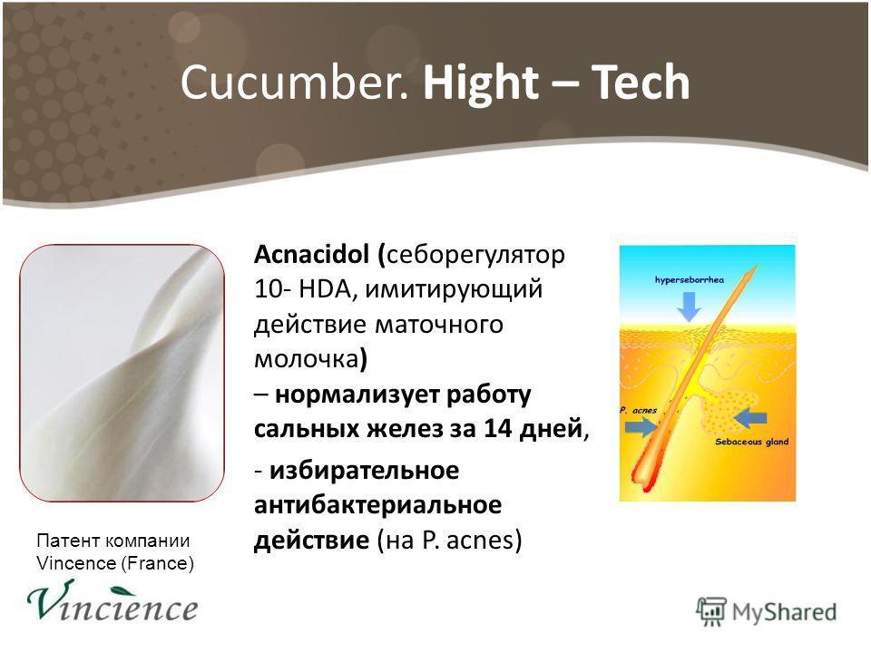 Cucumber. Hight – Tech Acnacidol (себорегулятор 10- HDA, имитирующий действие маточного молочка) – нормализует работу сальных желез за 14 дней, - избирательное антибактериальное действие (на P. acnes) Патент компании Vincence (France)