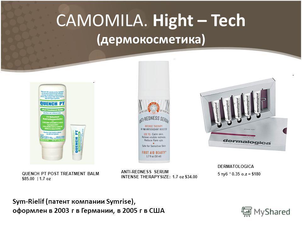 CAMOMILA. Hight – Tech (дермокосметика) Sym-Rielif (патент компании Symrise), оформлен в 2003 г в Германии, в 2005 г в США QUENCH PT POST TREATMENT BALM $85.00 | 1.7 oz ANTI-REDNESS SERUM INTENSE THERAPYSIZE: 1.7 oz $34.00 DERMATOLOGICA 5 туб * 0.35