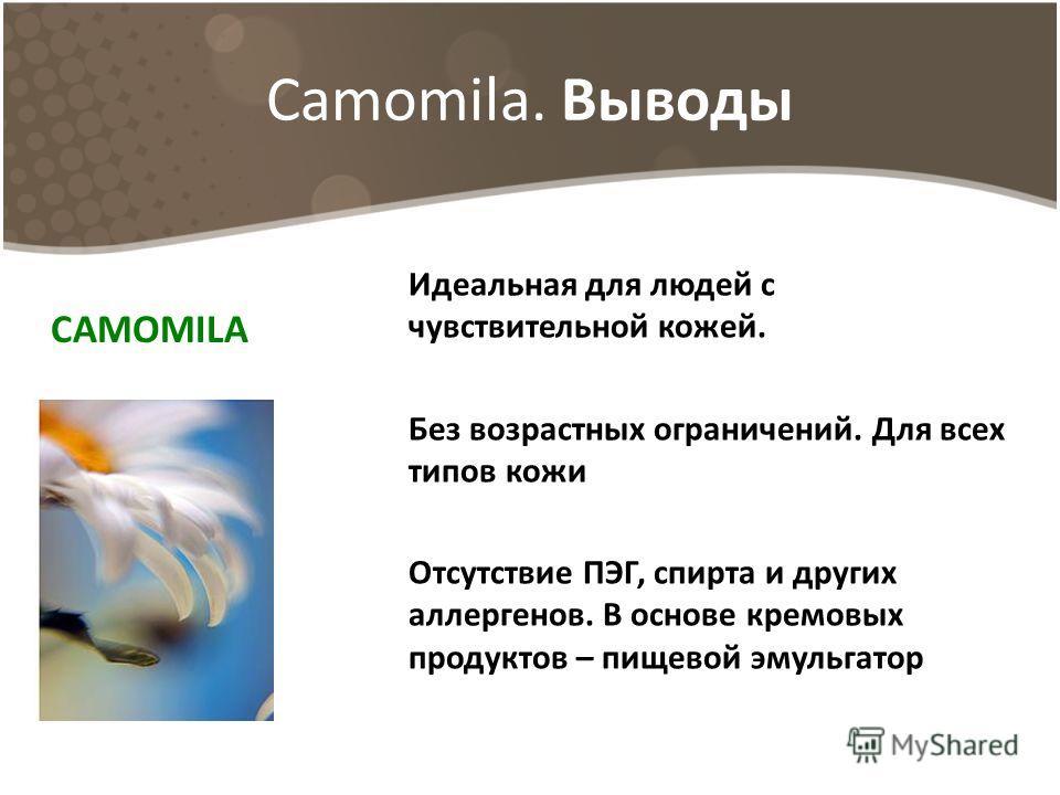 Camomila. Выводы Идеальная для людей с чувствительной кожей. Без возрастных ограничений. Для всех типов кожи Отсутствие ПЭГ, спирта и других аллергенов. В основе кремовых продуктов – пищевой эмульгатор СAMOMILA