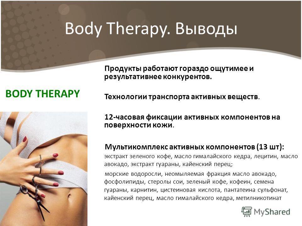 Body Therapy. Выводы Продукты работают гораздо ощутимее и результативнее конкурентов. Технологии транспорта активных веществ. 12-часовая фиксации активных компонентов на поверхности кожи. Мультикомплекс активных компонентов (13 шт): экстракт зеленого