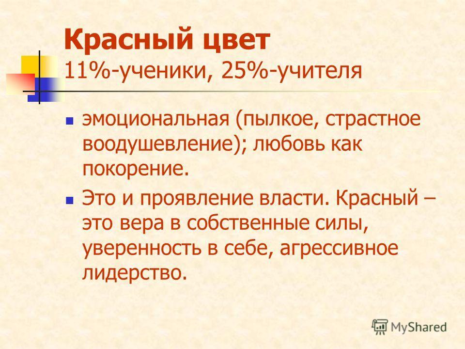 Красный цвет 11%-ученики, 25%-учителя эмоциональная (пылкое, страстное воодушевление); любовь как покорение. Это и проявление власти. Красный – это вера в собственные силы, уверенность в себе, агрессивное лидерство.