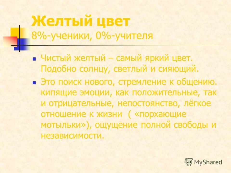 Желтый цвет 8%-ученики, 0%-учителя Чистый желтый – самый яркий цвет. Подобно солнцу, светлый и сияющий. Это поиск нового, стремление к общению. кипящие эмоции, как положительные, так и отрицательные, непостоянство, лёгкое отношение к жизни ( «порхающ