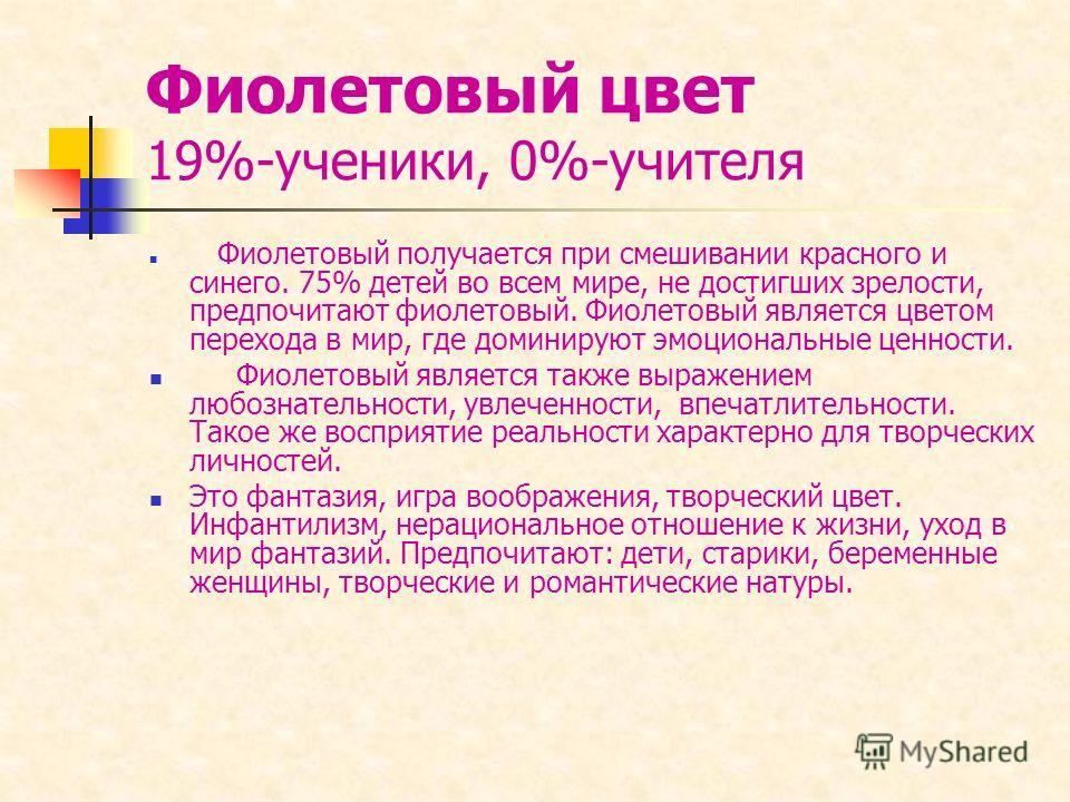 Фиолетовый цвет 19%-ученики, 0%-учителя Фиолетовый получается при смешивании красного и синего. 75% детей во всем мире, не достигших зрелости, предпочитают фиолетовый. Фиолетовый является цветом перехода в мир, где доминируют эмоциональные ценности.