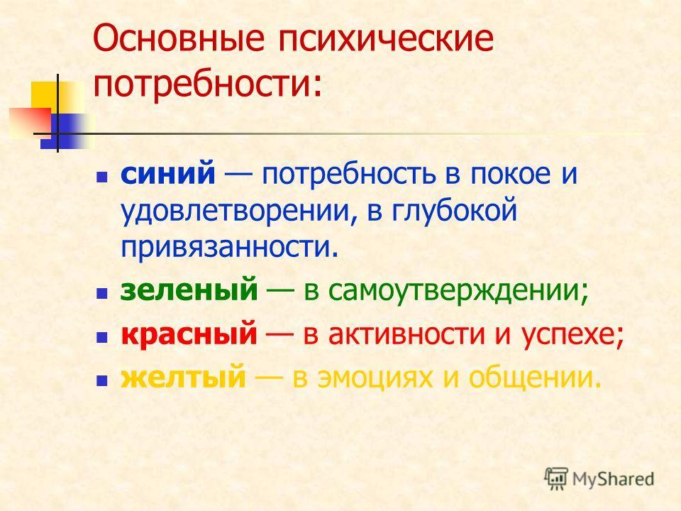 Основные психические потребности: синий потребность в покое и удовлетворении, в глубокой привязанности. зеленый в самоутверждении; красный в активности и успехе; желтый в эмоциях и общении.