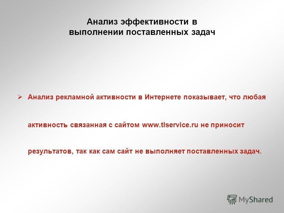 Анализ эффективности в выполнении поставленных задач Анализ рекламной активности в Интернете показывает, что любая активность связанная с сайтом www.tlservice.ru не приносит результатов, так как сам сайт не выполняет поставленных задач.