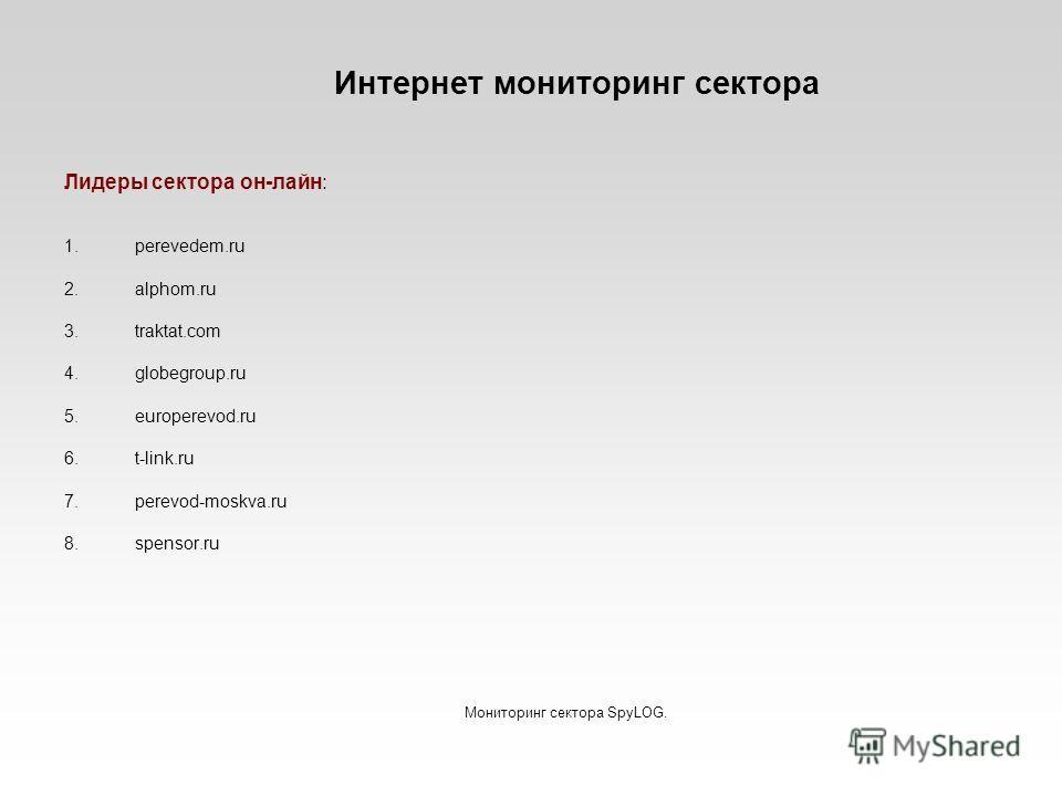 Интернет мониторинг сектора Лидеры сектора он-лайн: 1.perevedem.ru 2.alphom.ru 3.traktat.com 4.globegroup.ru 5.europerevod.ru 6.t-link.ru 7.perevod-moskva.ru 8.spensor.ru Мониторинг сектора SpyLOG.