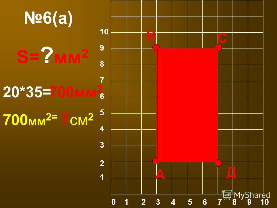 6(а) 0 1 2 3 4 5 6 7 8 9 10 1 2 3 4 5 6 10 9 8 7 А В С Д S= ? мм 2 20*35=700мм 2 700 мм 2= см 2 7