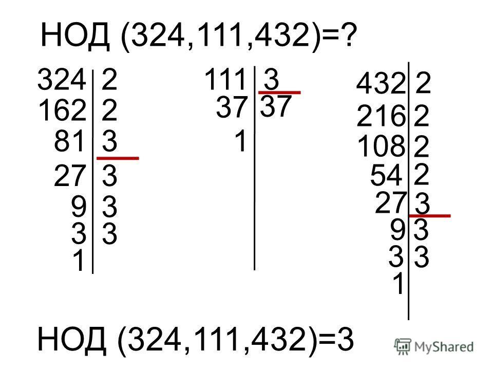 НОД (324,111,432)=? 3242 1622 813 27 1113 37 54 432 2 2 108 3 9 3 3 3 1 37 2 2 27 3 93 216 3 3 1 1 НОД (324,111,432)=3