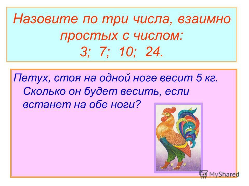 Назовите по три числа, взаимно простых с числом: 3; 7; 10; 24. Петух, стоя на одной ноге весит 5 кг. Сколько он будет весить, если встанет на обе ноги?