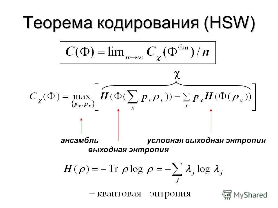 Пропускная способность w=1001…11 классическая информация вероятность ошибки P{ww} w=1101…01 классическая информация: сообщений n кодирование E декодирование D Классическая пропускная способность: