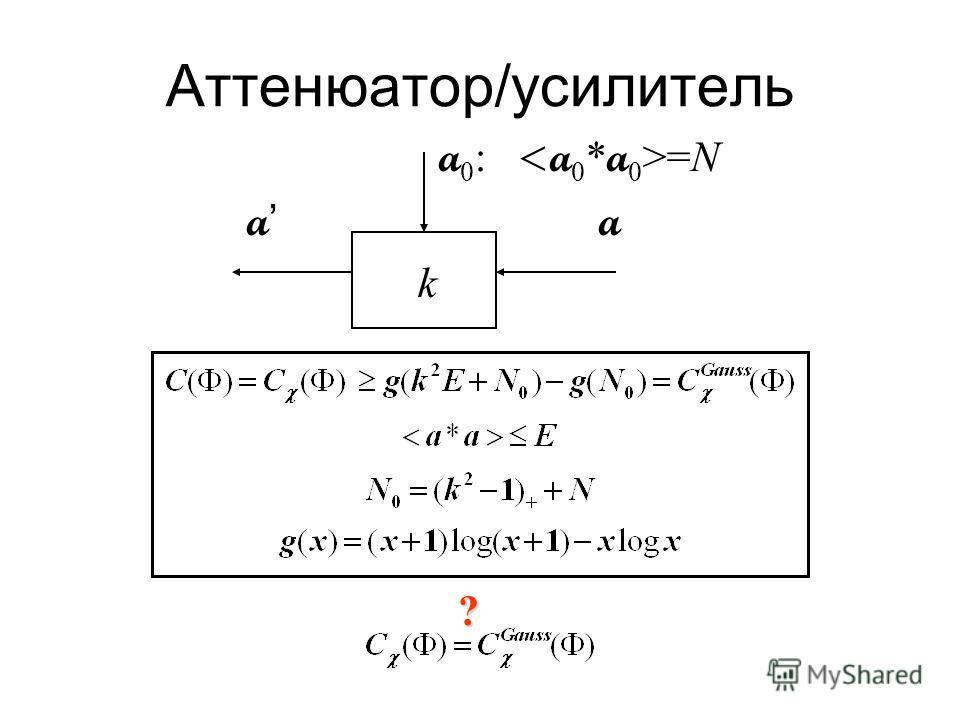 Пример: аттенюатор/усилитель a 0 : =N a k