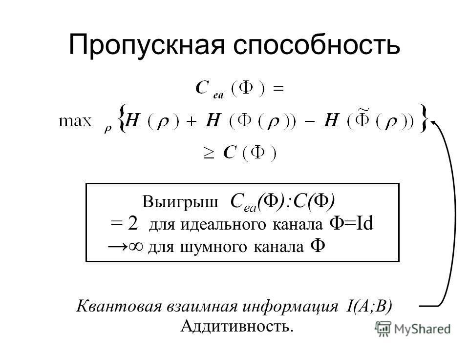 Использование сцепленности вход выход 1110100100…01101000110… n сцепленное состояние ψ AB ρAρA ρBρB