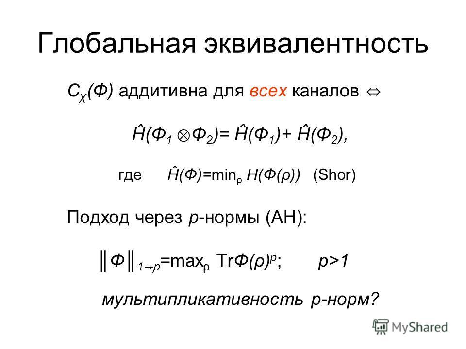 Вместо A* -- предсопряженное пространство A *, порожденное нормальными состояниями Энтропия «почти всюду» бесконечна, всюду разрывна Аналог теоремы кодирования имеет место при ограничениях на входе канала Возникают «непрерывные» ансамбли состояний Ва