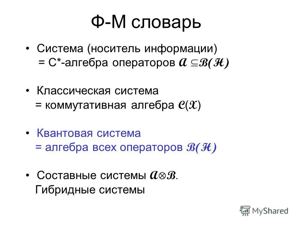 Статистические состояния систем (dim H