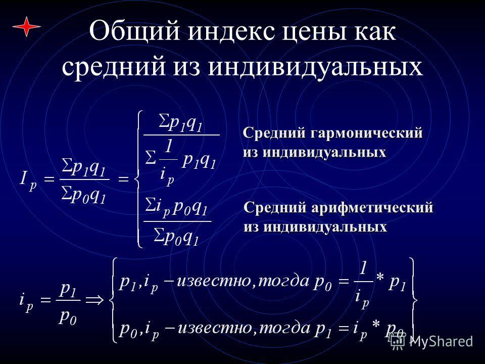 Средний гармонический из индивидуальных Средний арифметический из индивидуальных Общий индекс цены как средний из индивидуальных